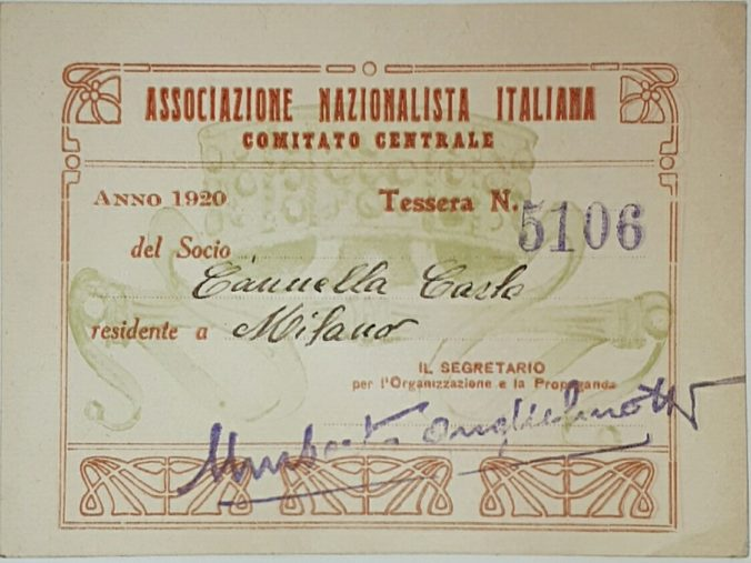 Tessera Associazione Nazionalista Italiana 1920