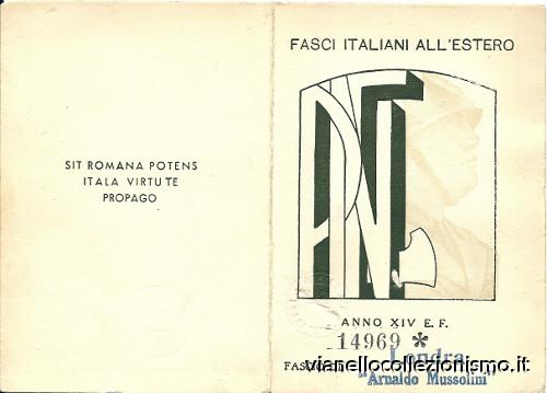 Fasci Italiani Estero PNF 1937