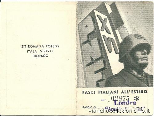 Tessera Fasci Italiani Estero Londra 1940