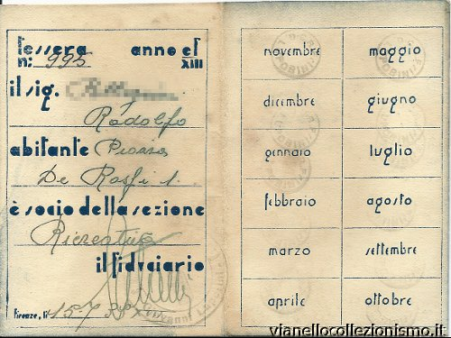 Tessera Gruppo Rionale Luporini 1936