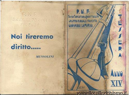 Tessera Gruppo Rionale Luporini 1936 Firenze