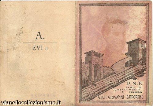 Tessera Gruppo Rionale Luporini 1938
