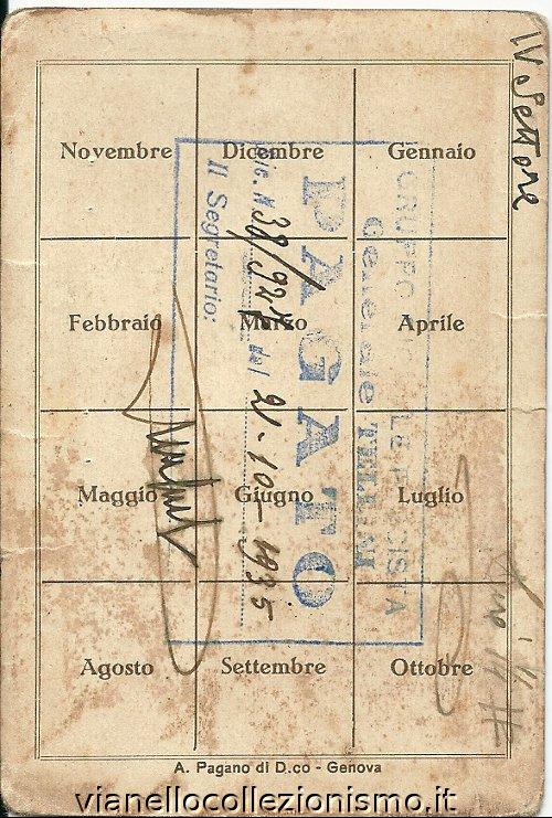 Tessera Gruppo Rionale Tellini 1935