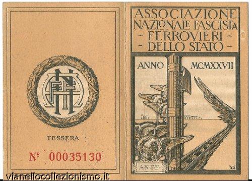 Tessera Associazione Nazionale Fascista Ferrovieri Stato
