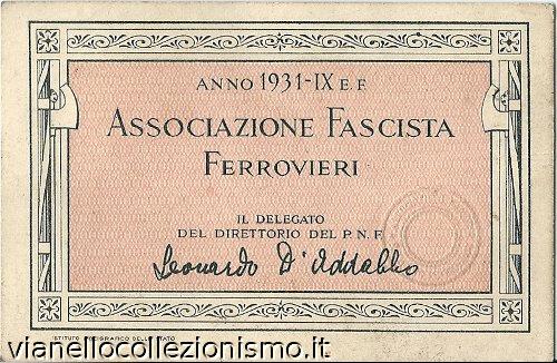 Tessera Associazione Ferrovieri 1931