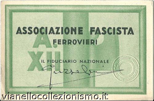 Tessera Associazione Ferrovieri 1934