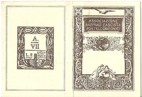 Tessera Associazione Nazionale Fascista Postelegrafonici