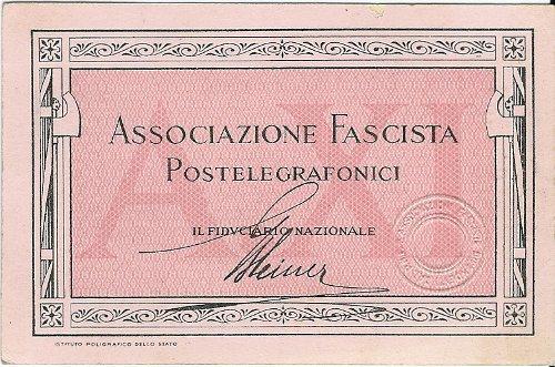 Tessera Associazione Fascista Postelegrafonici 1933