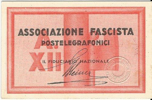Tessera Associazione Fascista Postelegrafonici 1934