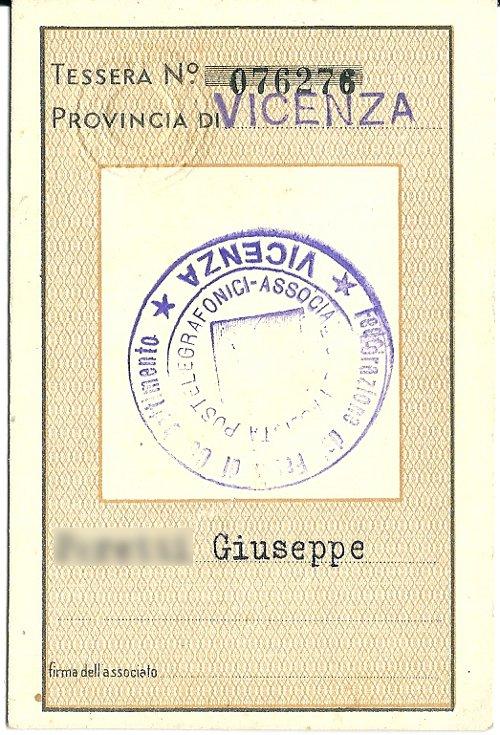 Tessera Associazione Fascista Postelegrafonici 1935