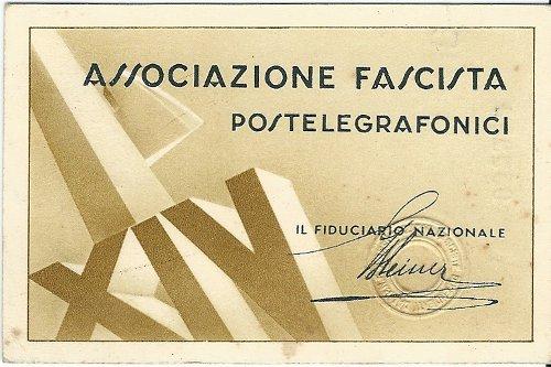 Tessera Associazione Fascista Postelegrafonici 1936