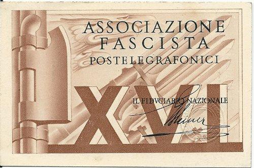 Tessera Associazione Fascista Postelegrafonici