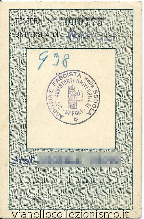 Tessera Associazione Fascista Scuola Assistenti 1936