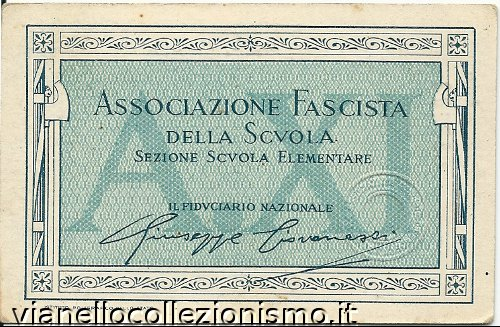 Tessera Associazione Fascista Scuola 1933