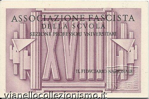 Tessera Associazione Fascista Scuola Professori 1940