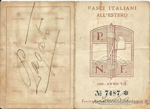 Tessera Fasci Italiani Estero 1929