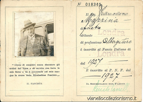 Tessera Fasci Italiani Estero 1931