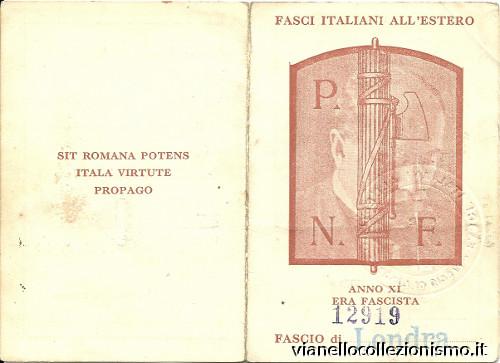 Tessera Fasci Italiani Estero 1933