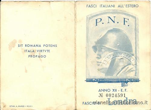 Tessera Fasci Italiani Estero 1934