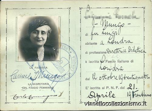 Tessera Fasci Italiani Estero Femminile 1935