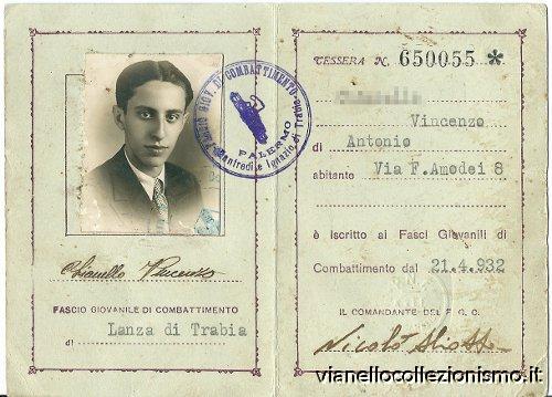 Tessera Fasci Giovanili Combattimento 1936