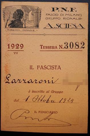 Tessera Gruppo Rionale Sciesa 1929