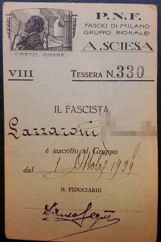 Tessera Gruppo Rionale Sciesa 1930