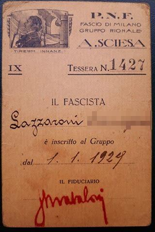 Tessera Gruppo Rionale Sciesa 1931