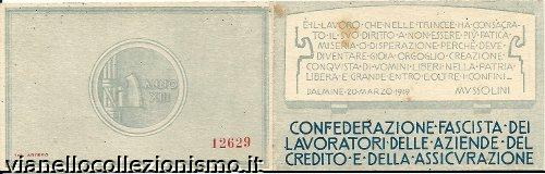 Tessera Confederazione Fascista Lavoratori Aziende Credito Assicurazione
