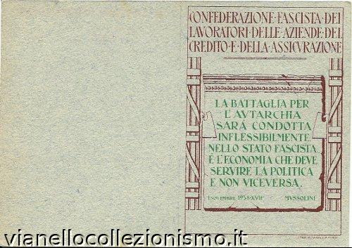 Tessera Confederazione Fascista Lavoratori Aziende Credito Assicurazione 1939