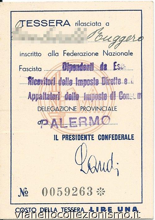 Tessera Confederazione Fascista Lavoratori Aziende Credito Assicurazione 1940