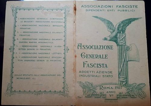 Tessera Associazione Generale Fascista