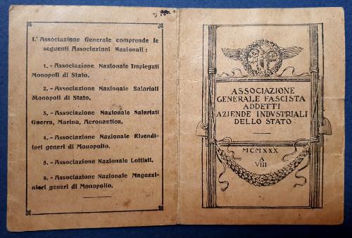 Tessera Associazione Generale Fascista 1930