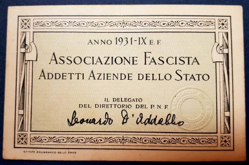 Tessera Associazione Fascista Addetti Aziende dello Stato 1931