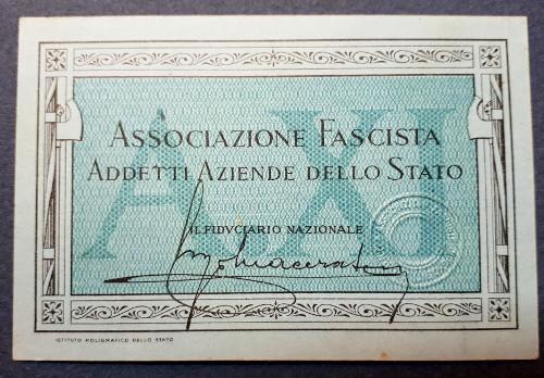 Tessera Associazione Fascista Addetti Aziende dello Stato 1933