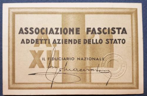 Tessera Associazione Fascista Addetti Aziende dello Stato 1934
