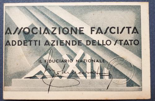 Tessera Associazione Fascista Addetti Aziende dello Stato 1935
