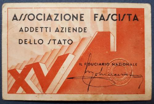 Tessera Associazione Fascista Addetti Aziende dello Stato 1937