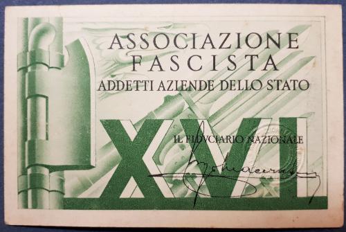 Tessera Associazione Fascista Addetti Aziende dello Stato 1938