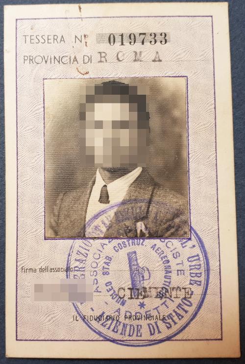 Tessera Associazione Fascista Addetti Aziende dello Stato 1939