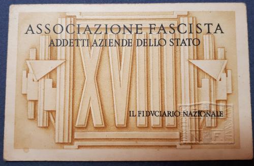 Tessera Associazione Fascista Addetti Aziende dello Stato 1940