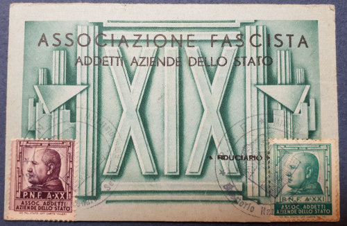 Tessera Associazione Fascista Addetti Aziende dello Stato 1941