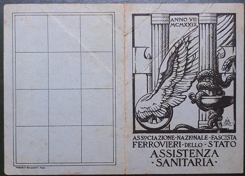 Tessera.Associazione.Nazionale.Ferrovieri.Fascisti.assistenza.sanitaria.1929