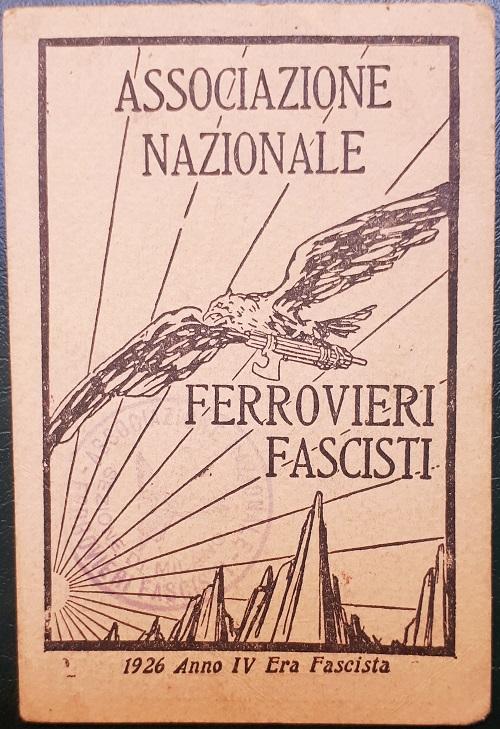 Tessera.Associazione.Nazionale.Ferrovieri.Fascisti.1926