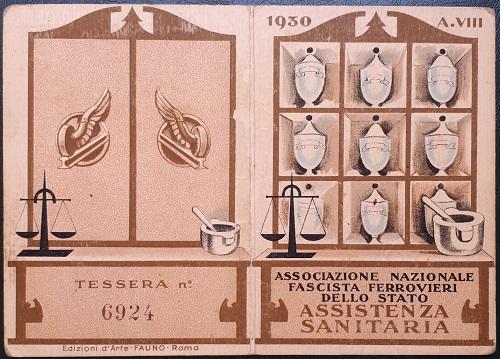 Tessera.Associazione.Nazionale.Ferrovieri.Fascisti.1930